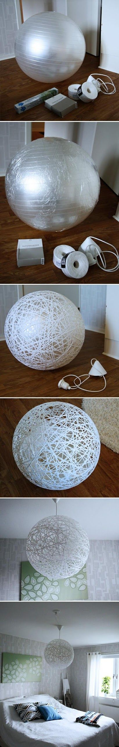 Do it yourself - make beautiful lampshade from string.
