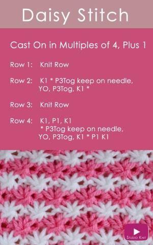 Como tricotar o ponto da flor da margarida com teste padrão livre + t ...