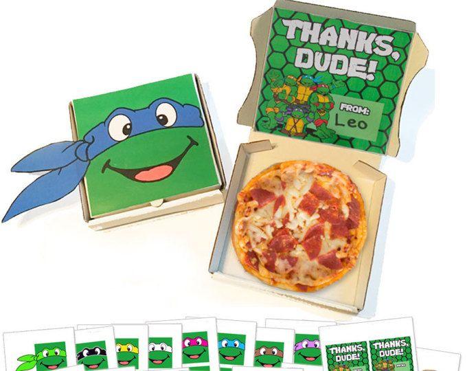 TMNT Pizza Box Labels -- DIGITAL -- Favor Box Printables -- Make your own Teenage Mutant Ninja Turtle party favors