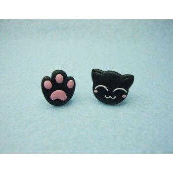 Cat + Pawprint, gato,huella,pendientes,earrings,fimo,animal,pet,mascota,