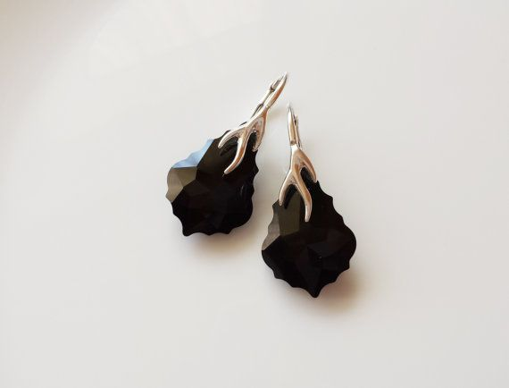 Sterling silver Swarovski Baroque drop earrings jet by DreamyBox
