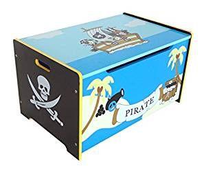⚓ Piratenzimmer: Schatztruhe Spielzeugbox + Bank, Pirate Themen, Holzbank, blau | Strauraum für das #piraten #kinderzimmer