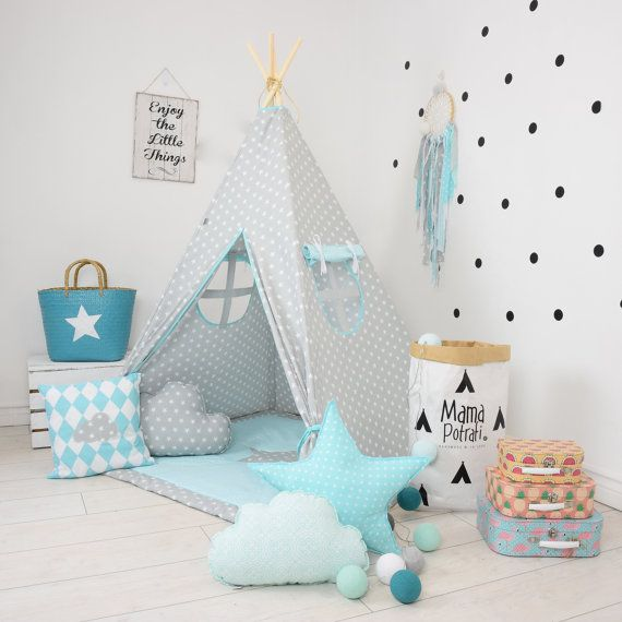 Teepee takes you to the wonderland of fun, joy and happiness. It can be a place for morning tea with mum, daily play with friends and evening books reading with dad.  Playing in teepee developes kids imagination and creativity.  TEEPEE IS SPECIALLY DESIGNED TO BE SAFE AND STABLE!  WILL NEVER FALL ON YOUR KID! What is included : TEEPEE option:  -fabric teepee tent with 2 windows - wooden (pine) poles x4 -teepee case -MAGIC TEEPEE LAMP( depending on the selected option)  TEEPEE WITH FLOOR MAT…