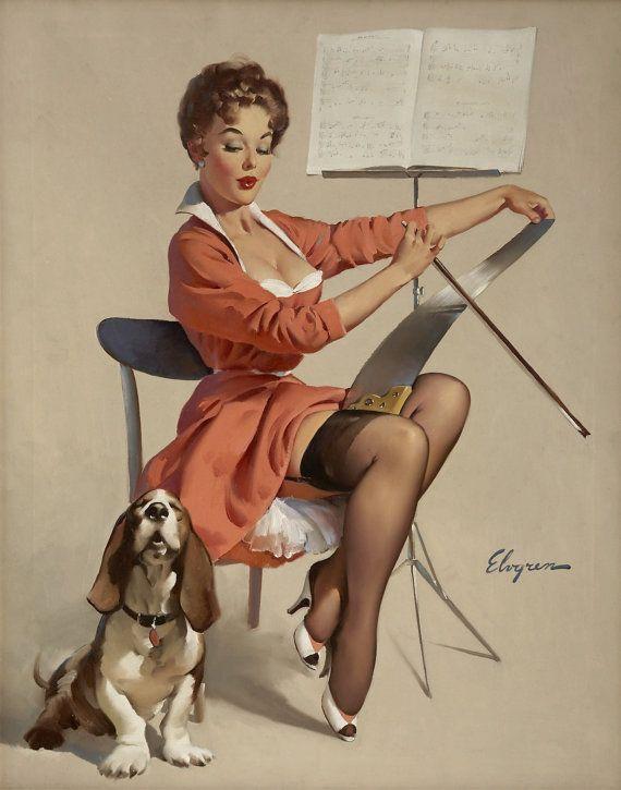 Handprinted Cotton Art Applique Vintage Sexy Pin-up Girl Gil Elvgren Doggone good(puppy love), 1957 via Etsy♠️
