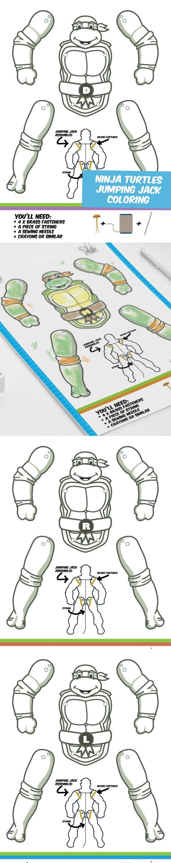Create your own Ninja Turtles puppets. Color them the way you want them. Great papercrafts for kids!: