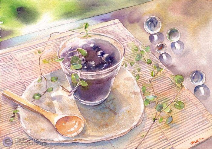 暑い夏に目に涼しい水ようかんを透明水彩画で描きました。