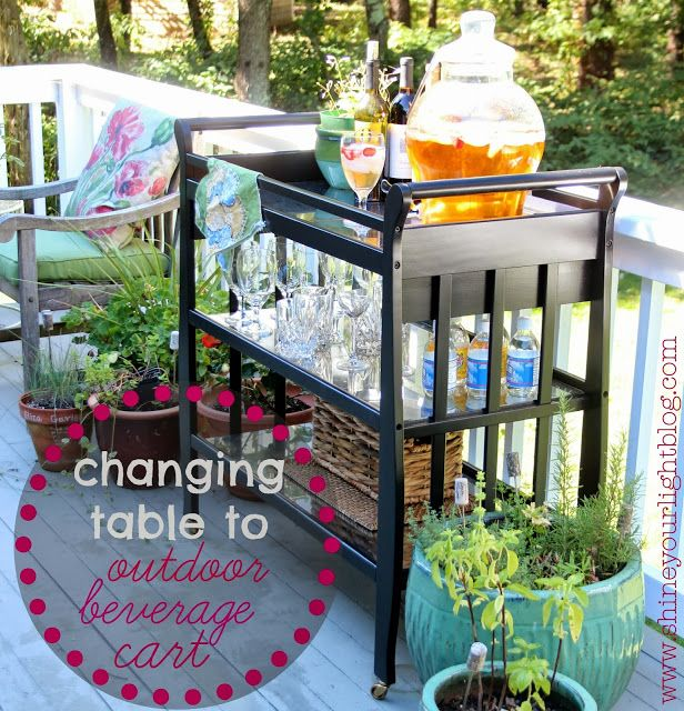 A DIY Beverage Cart.... from a changing table to a BAR CART.. AWESOME !!
