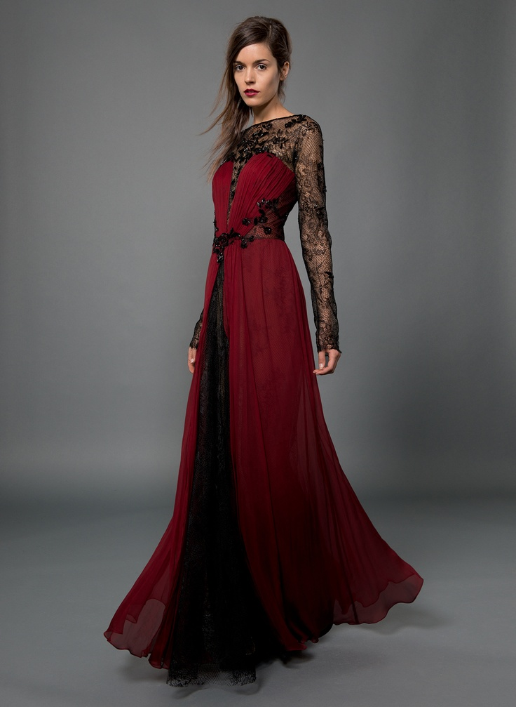 Chiffon and Lace Long Sleeve Gown with Beaded ...