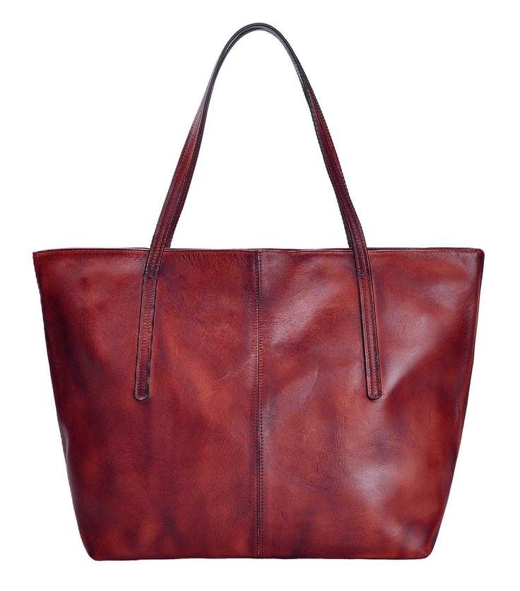ZLYC Women Handmade Dip Dye Leather Top Handle Tote Bag Commuter Shoulder Bag, Brown: Handbags: Amazon.com