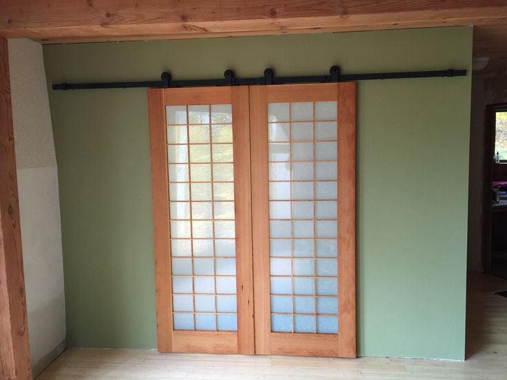 Barn Doors With A Shoji Style The Glass Has 3m Rice Paper Pattern Film Called Yamato The Doors Were Hand Made From S Japanese Sliding Doors Home Small Living