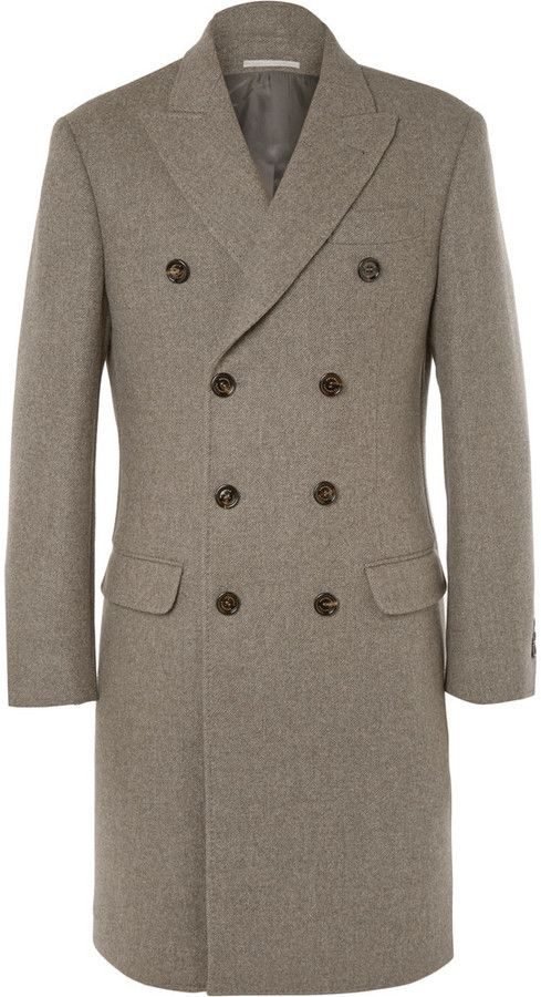 $4,180, Brunello Cucinelli Double Breasted Wool Overcoat. Sold by MR PORTER. Click for more info: https://lookastic.com/men/shop_items/336626/redirect