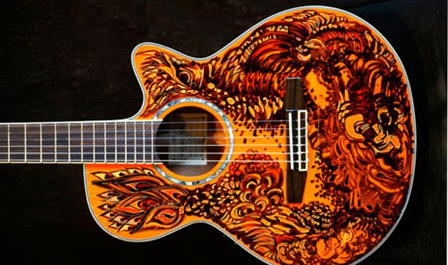 Peter Bragino created a custom design on his Ibanez guitar using an industrial-strength Sharpie marker––no sanding or topcoat was needed to preserve the long-lasting design. He penned this intricate work of art at his Brooklyn, New York, art gallery, THECEEFLAT.
