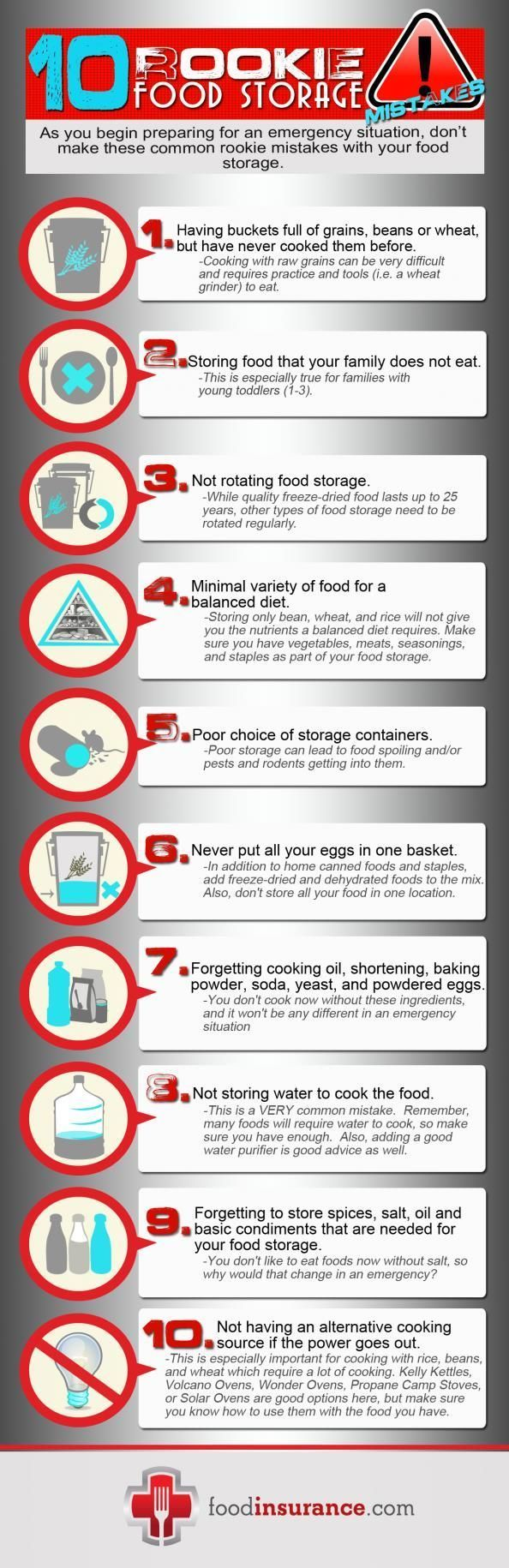 10 Rookie Food Storage Mistakes | Survival Prepping and Long Term Food Storage for Preparedness by Survival Life at http://survivallife.com/2014/03/13/how-to-build-emergency-food-supply/