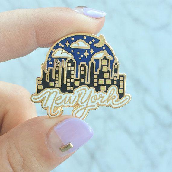 New York at Night Pin, Flair – Lapel Pin, Gold Hard Enamel, NYC Skyline, Wildflower + Co