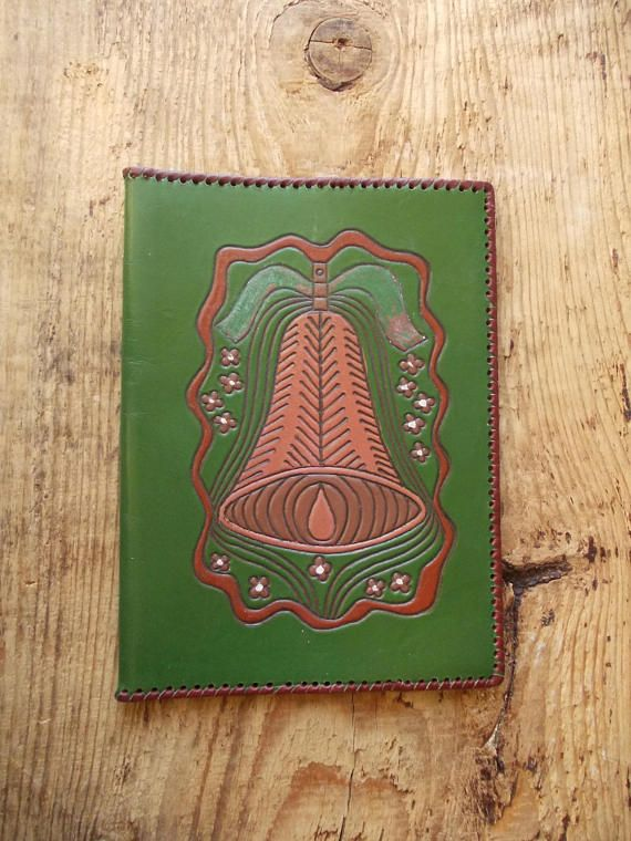 GREEN Leather Book COVER / Leather Case / Made in USSR /