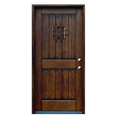 Main Door Rustic Mahogany Type Prefinished Distressed Solid Wood Speakeasy Prehung Front Door-SH-904-PH-LH - The Home Depot