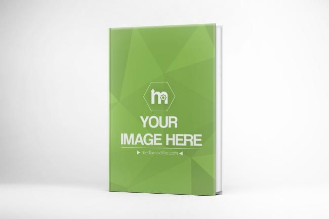 Online book cover design mockup generator. A slightly angled front view of 3D book cover on a light background. Easily preview your book cover designs - upload your image, crop to fit the placeholder. Don't forget to choose a color for the back side of book to match your cover design.