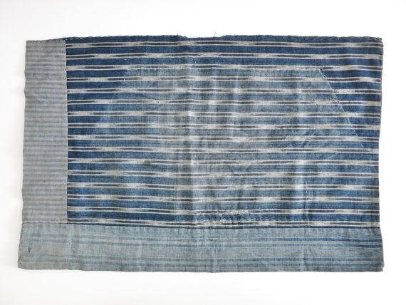 Boro Patchwork. Striped Aizome ( Indigo dyed ) . Japanese Antique Fabric. Cotton. Small Mat. Reversible. 08094
