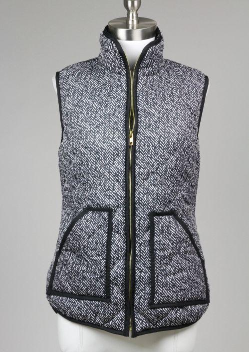 herringbone quilted puffer vest