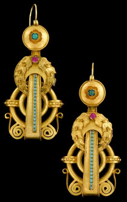 Fine yellow gold drop earrings 'Etruscan Revival' style drop earrings with applied laurel leaf, turquoise and ruby accent.