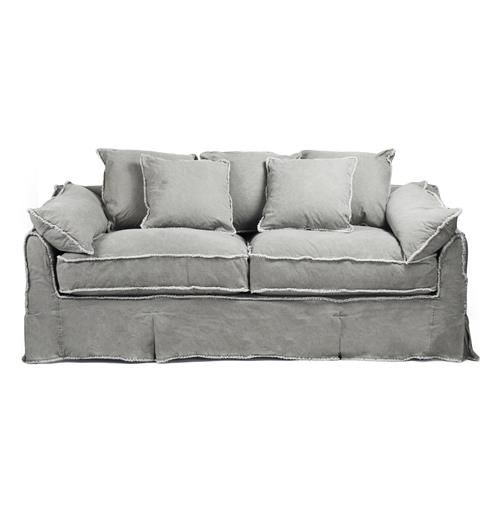 This cozy sofa doesn't stand on ceremony – it invites you to sink into its pile of soft pillows, upholstered in beautiful fog colored denim – and let the day go. The shabby chic pillow edging and soft canvas fabric mean this isn't just a show piece that brings your cottage decor or rustic loft to life, but a truly useable sofa for everyday living (and napping).