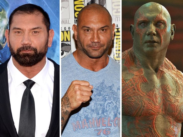 Awesome Photos Of Wrestler Dave Bautista's 5-Hour 'Guardians Of The Galaxy' Makeup Process | Eventually, Drax's makeup took an average of three hours to do. Bautista recently told /Film that the makeup team was able to get it down to two hours, 47 minutes one day. However, it takes about another hour and a half to remove.  Here's a side-by-side of Bautista's transformation.