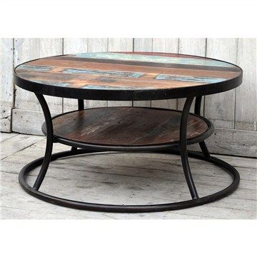 Wally Hand Crafted Recycled Mango Wood Top Iron 90x45cm Round Coffee Table $465