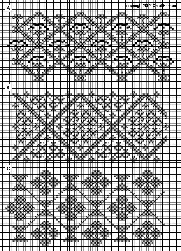 German 16th c. sampler patterns: peonies, flowers in diamonds, and quatrefoils in diamonds.