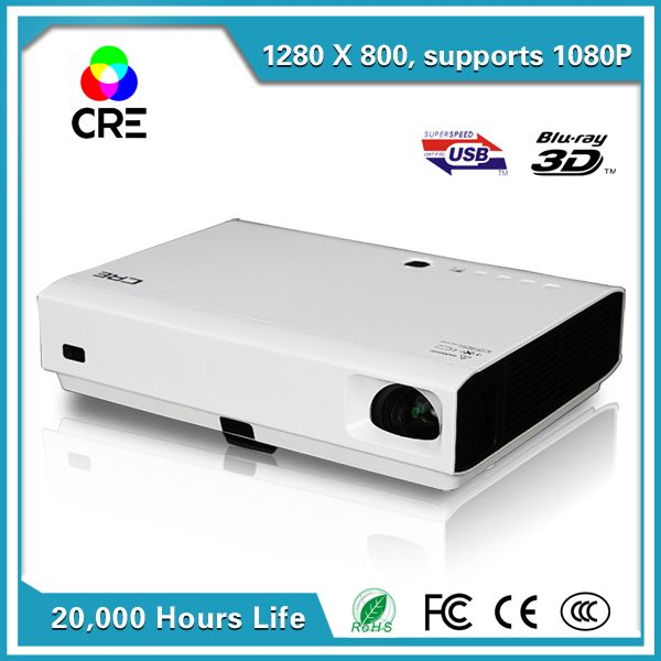 Hot CRE X3001 3000lumen 1280x800 3LED DLP pocket mini built-in android4.4 wifi bluetooth4.0 DLP 3D projector perfect for home vi