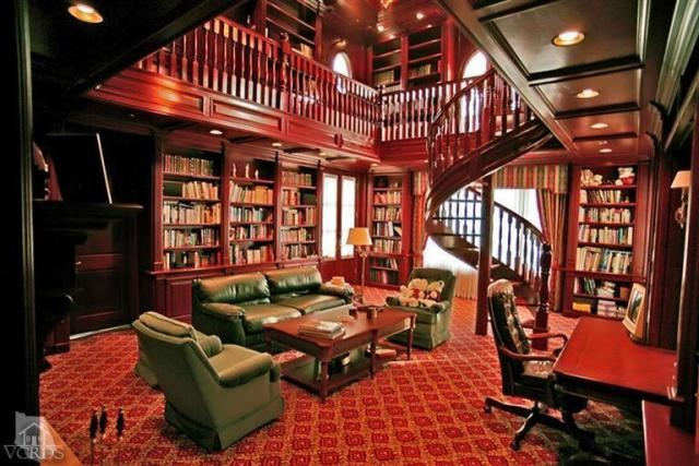 Two Story Library Home Library Pinterest