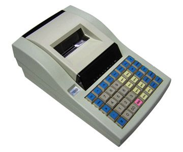 SPECIFICATIONS   	Display 	Operator : 1 line 7 segment VFD 9 digits 	Customer : 1 line 7 segment VFD 9 digits    	Printer 	2 station 37 mm line thermal printer    	Printing speed 	Approx. 361 dot line per sec.    	Keyboard 	40 Key position raised keyboard    	Power 	220 volt