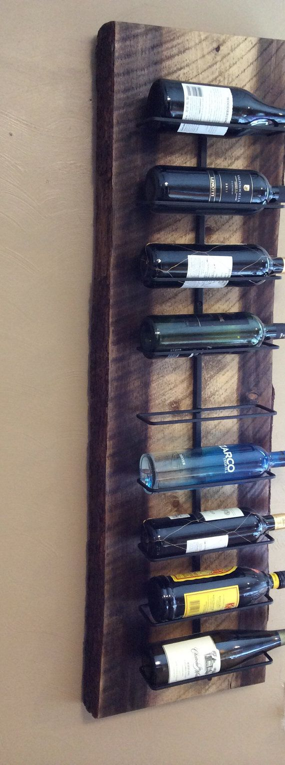 handmade wall hanging wine rack natural style wooden plank is 3 inches thick reclaimed rough sawn