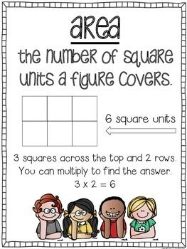 Area and Perimeter Math Center - 24 task cards included and an optional game board.
