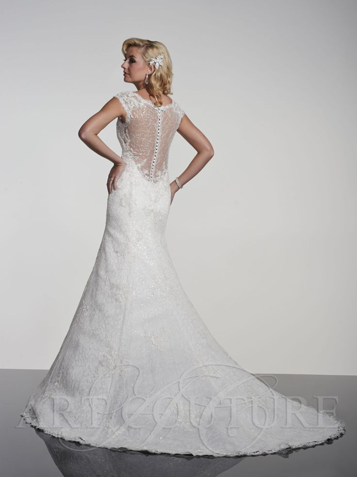 AC388 Heavenly lace and beaded design with elegant cut out back and button detail