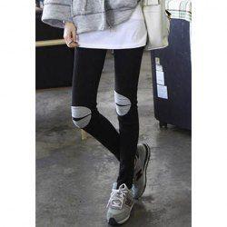 $6.62 Fashion Contrast Knee Design Slim-Fit Black Leggings For Women