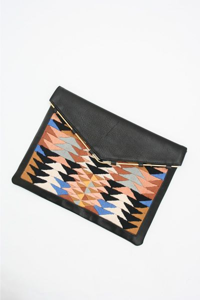 Lizzie Fortunato embroidered leather clutch