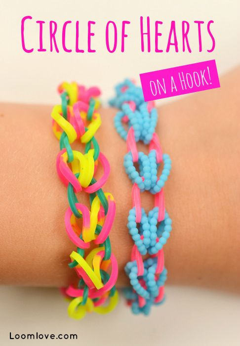 How to Make a Circle of Hearts Bracelet on a Hook #rainbowloom