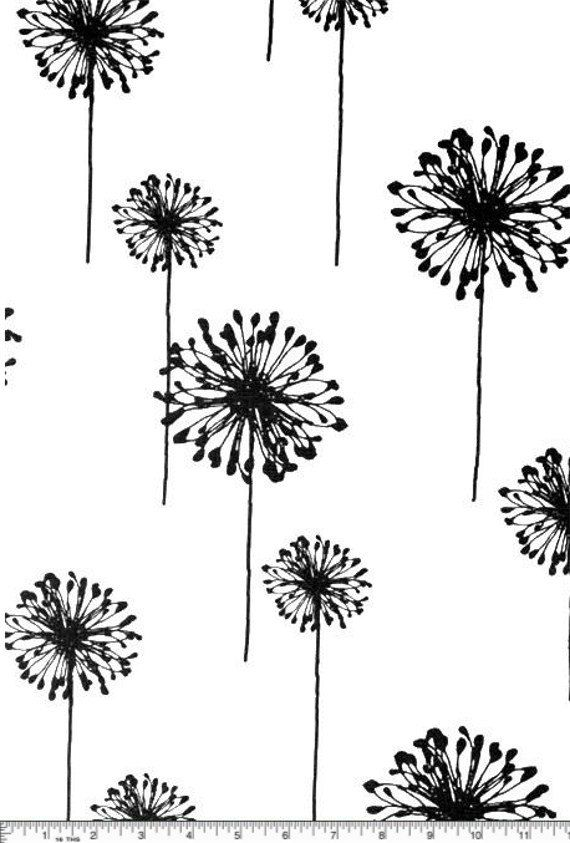 Dandelion Cotton Fabric - ONE Yard - Drapery Fabric - Black and White - Fabric by the Yard. $12.75, via Etsy.    over sink?