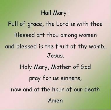 Hail Mary! Full of grace, the Lord is with thee. Blessed art though among women and blessed is the fruit of thy womb, Jesus.  Holy Mary, Mother of God pray for us sinners, now and at the hour of our death.  Amen. #Rosary #Prayer #Catholic