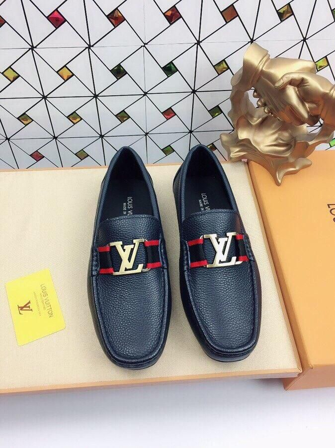 Lv Leather Loafers Dress Shoes Men Loafers Men Comfortable