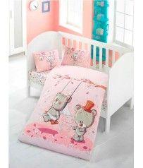Σετ Παπλωματοθήκη Bebe 100x150 cm Σχέδιο Pink Dream