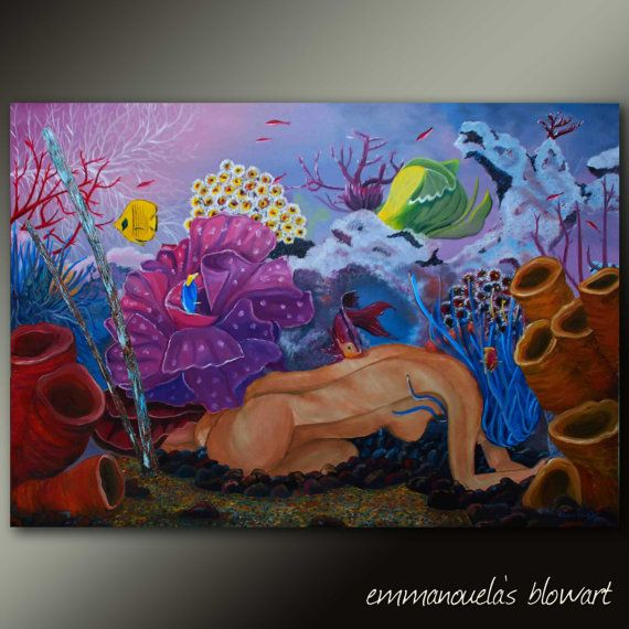 Original seascape oil painting Woman in the bottom by Blowart, €930.00