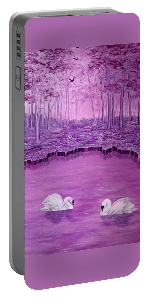 Portable Battery Charger,  purple,violet,mauve,cool,beautiful,fancy,unique,trendy,artistic,awesome,fahionable,unusual,accessories,for,sale,design,items,products,gifts,presents,ideas,swans,forest,lake,nature