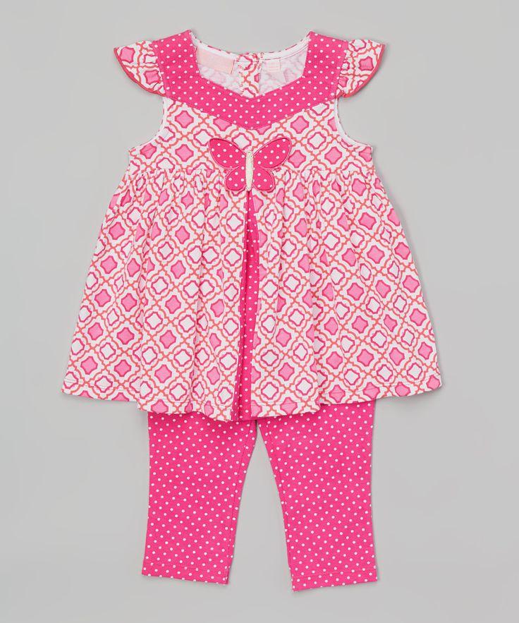 Pink Butterfly Tunic & Capri Leggings - Infant, Toddler & Girls