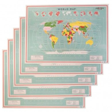 5 Sheets Of Wrapping Paper Vintage World Map Design £6.95