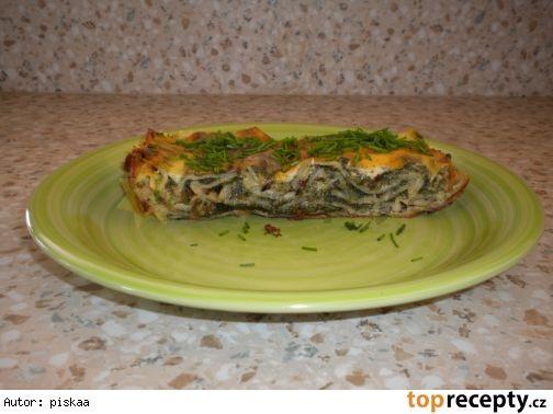 špenátovo-kapustové lasagne s nivovým bešamelom