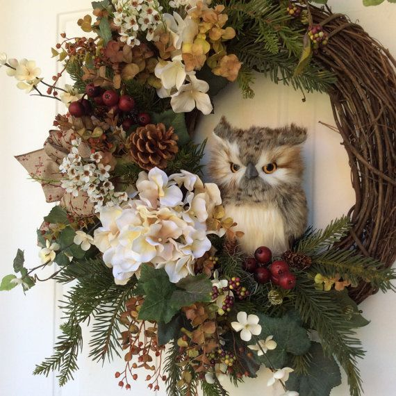 Christmas Wreath-Winter Wreath-Owl by ReginasGarden on Etsy