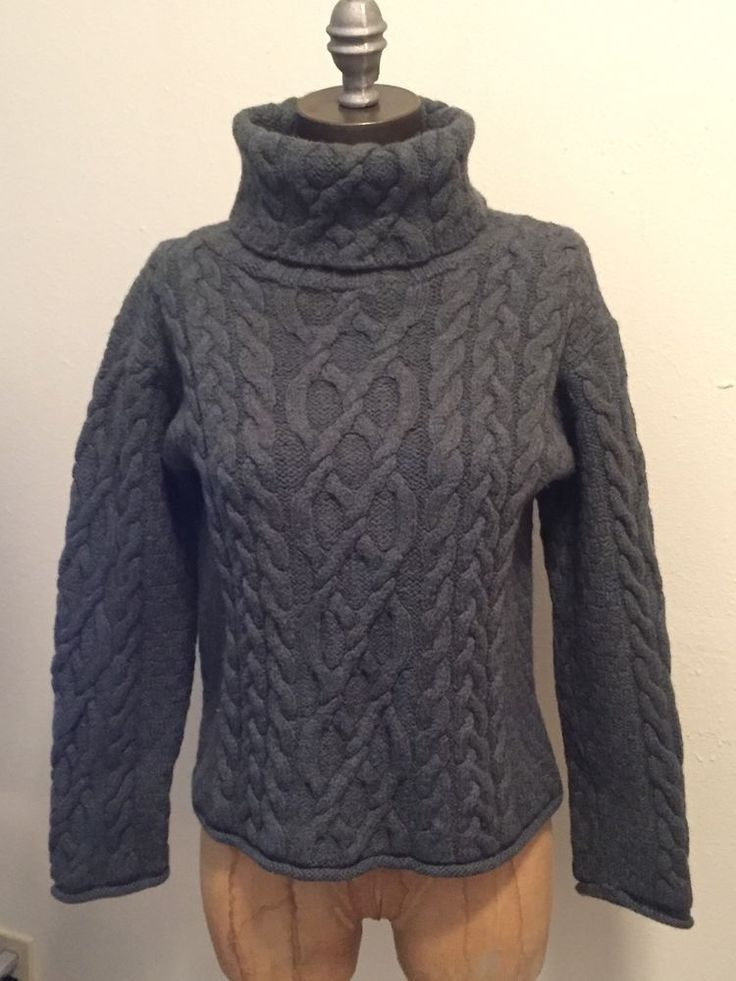 Inis Crafts Turtleneck Cable Knit Heather Green 100 Merino Wool Sweater S | eBay