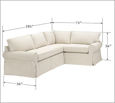 Pb Basic Slipcovered 3 Piece Sectional For The Home