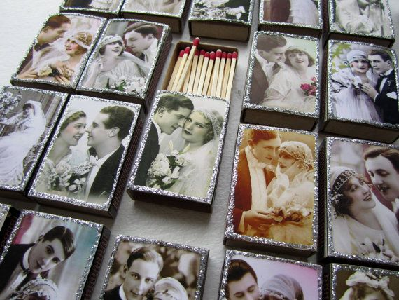 """""""a match made in heaven"""" 1920's decorated matchbox for wedding favor"""